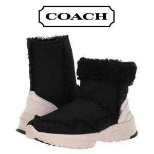 Coach Portia Shearling Lined Boots in Black NIB